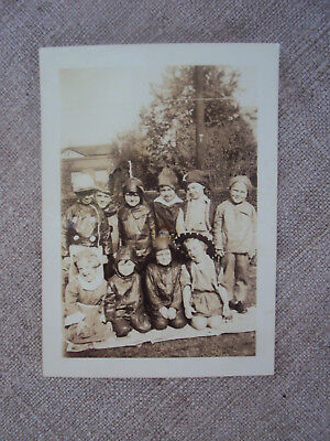 Vintage 1940's Photograph Snapshot Group Young Children In Costumes Halloween  - Kid Group Halloween Costumes