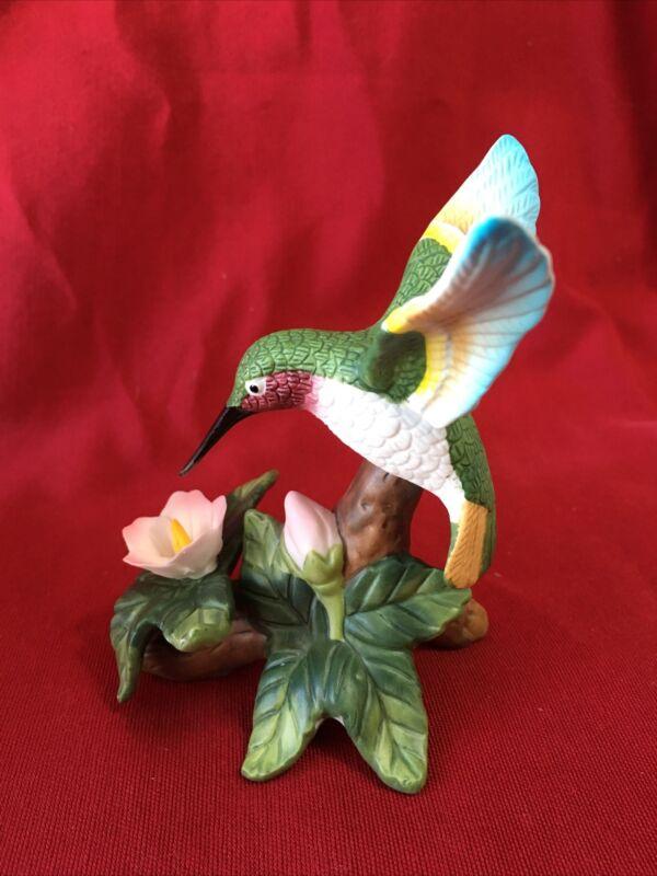 Lovely Porcelain Bisque Hummingbird Figurine w/ Pink Flower