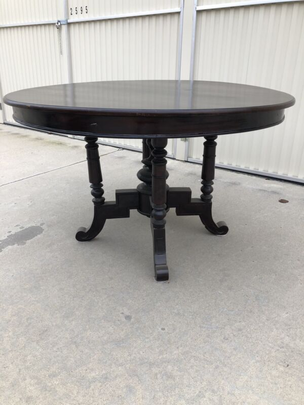 Antique Round Walnut Dining Table