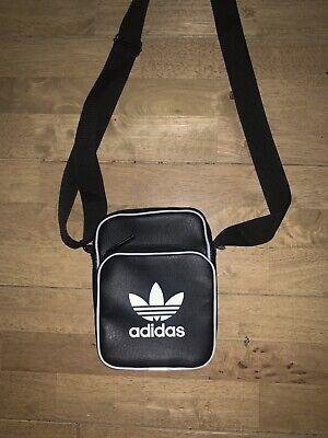 Adidas Black & White Small Cross Body Messenger Unisex Ladies Mens Man Bag