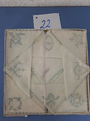 Konv 8 Alte DDR Damentaschentücher Bestickt-unbenutzt mit Original Schachtel