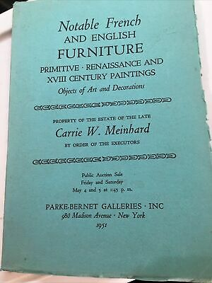 notable french english furniture art auction catalog 1951 meinhard