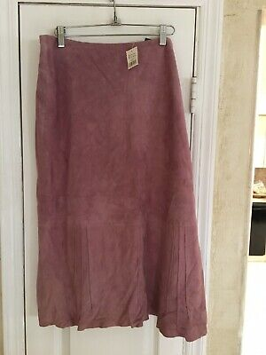 NWT Banana Republic Heritage Collection Blush Rose A-line Suede Leather Skirt 14