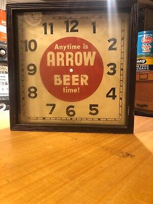 Genuine Vintage 1940s Anytime is Arrow Beer Time Electric Clock Deco Wood Case