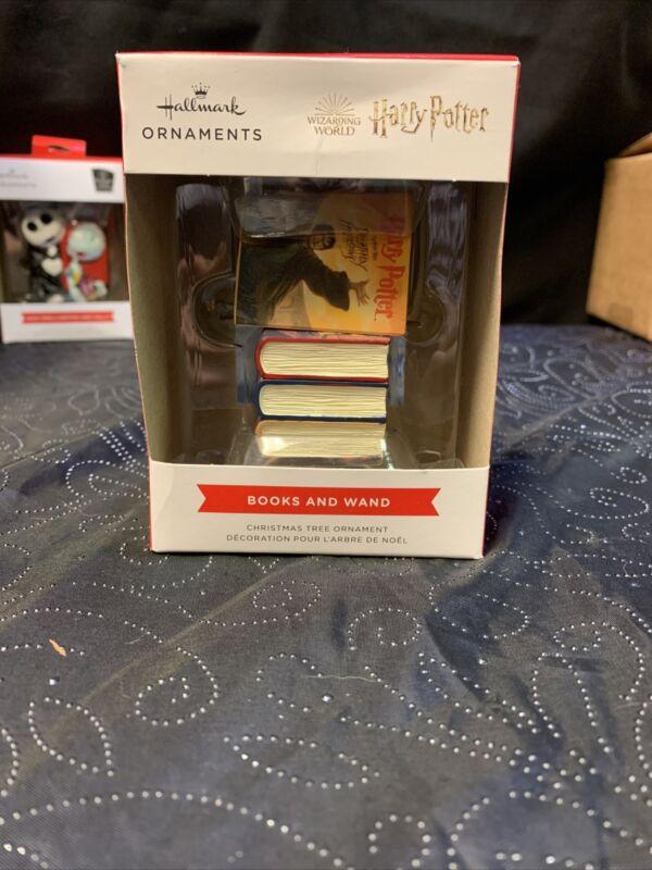 New Hallmark 2021 Harry Potter Books and Wand Christmas Ornament