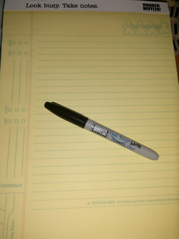 Dunder Mifflin Notepad and Sharpie THE OFFICE NBC Gift Set Lot Quill.com
