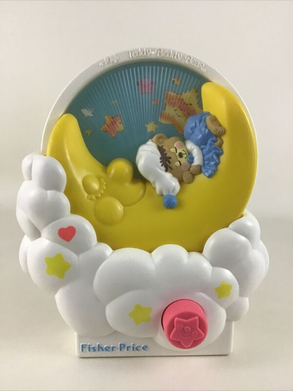 Fisher Price Teddy Beddy Bear Musical Wind Up Baby Crib Toy 80s Vintage 1985