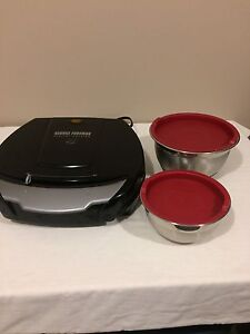 George Foreman Healthy Cooking Grill & set stainless steal bowls