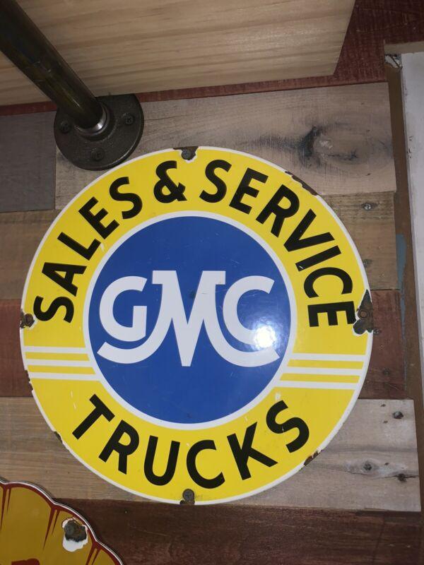 Vintage Style Gmc Sales And Service Trucks Porcelain Pump Plate 11 3/4