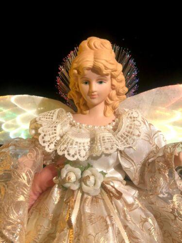 GORGEOUS CHRISTMAS FIBER OPTIC ANGEL TREE TOPPER TABLETOP GOLD WHITE PORCELAIN