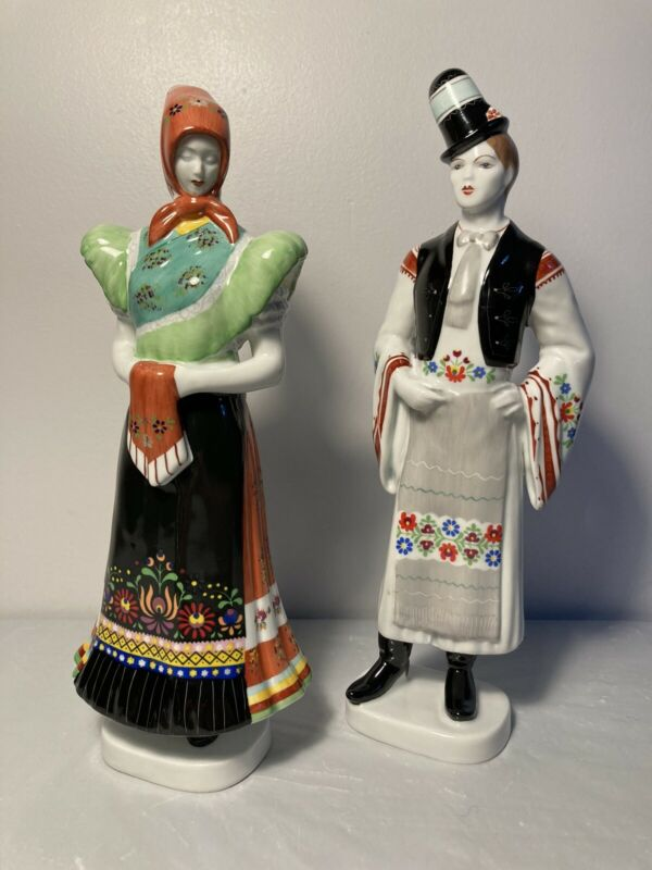 Hollohaza Hungarian Traditional Folk Dress Couple Figurines Handpainted