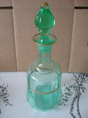 Emerald Green Gold Crystal Decanter with Stopper Nice