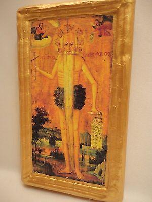 Saint Onuphrius Onouphrius Agios Onoufrios Rare Greek Orthodox Icon Wood Plaque