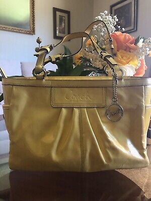 Coach F13761  Yellow Patent Leather Pleated Gallery Tote Bag Purse Clean!