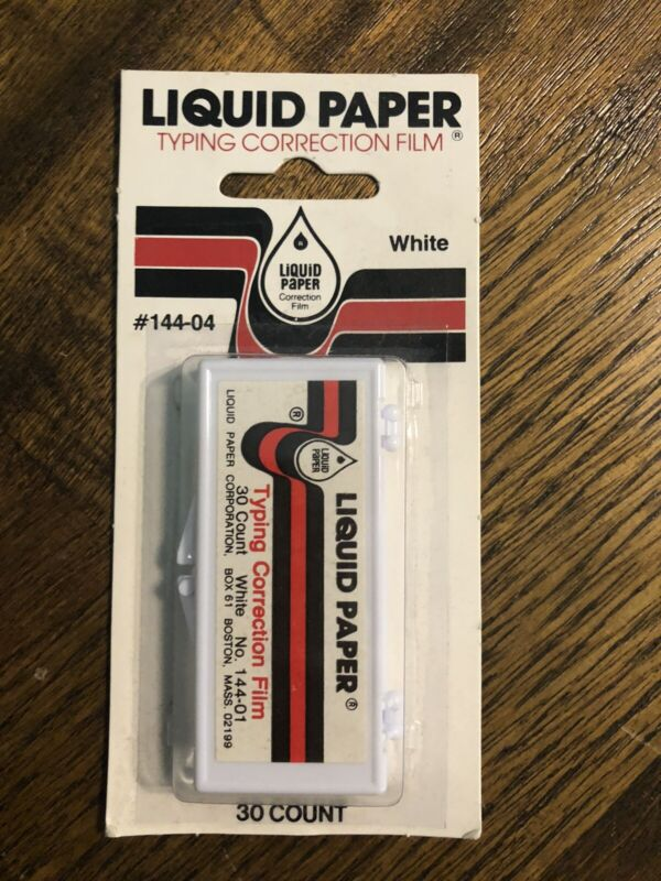 Liquid Paper Typing Correction Film 30 Count White 144-04 New 1978