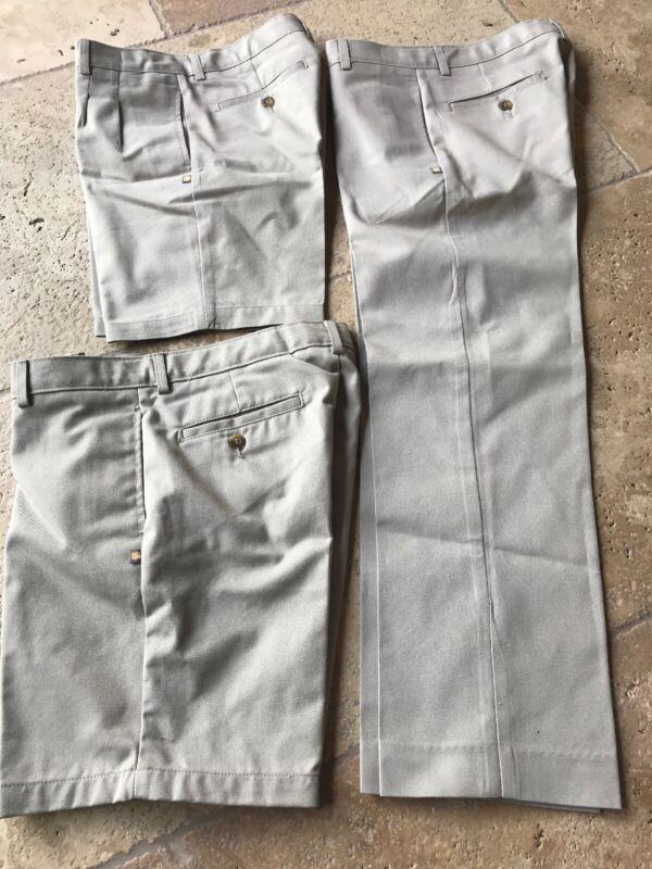 Dennis School Uniform Lot Of 2 Khaki Shorts & 1 Pants Boys 12 Adjustable Waist
