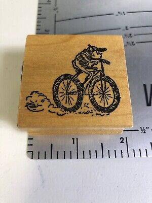 BARTHOLOMEW'S INK Brownie Imps Elf on a bicycle Cox Palmer Rubber Stamp
