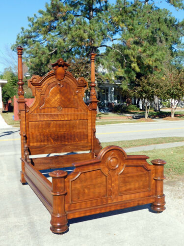 Rosewood and Walnut Victorian Bed