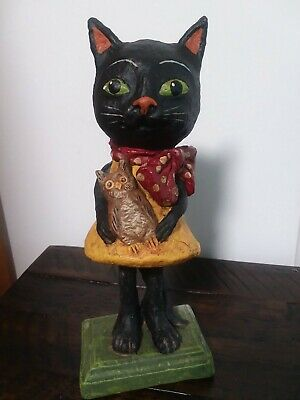 "Debra Schoch Bethany Lowe 8.5"" Black Cat with Owl Halloween Retired"