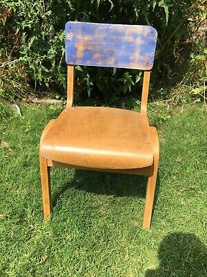Vintage Plywood School stacking chair Seat Dining Desk Old 1950s