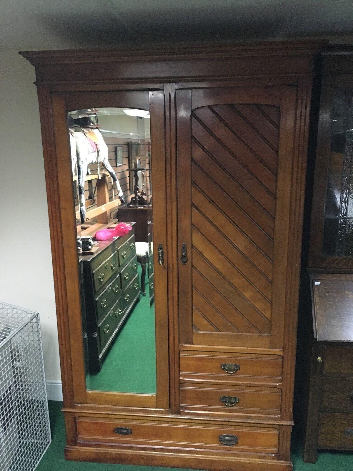 Victorian Satin Walnut Combination Wardrobe Containing 3 Drawers