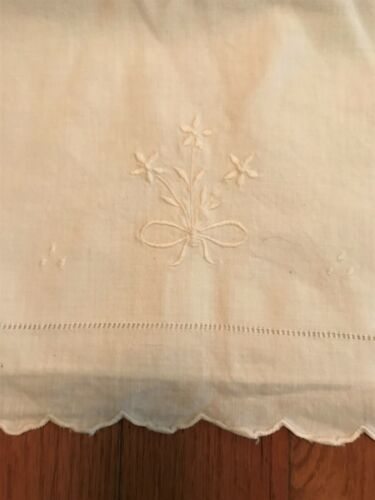 Antique Linen Large Bolster Pillow Case Embroidered and Cut Out Work