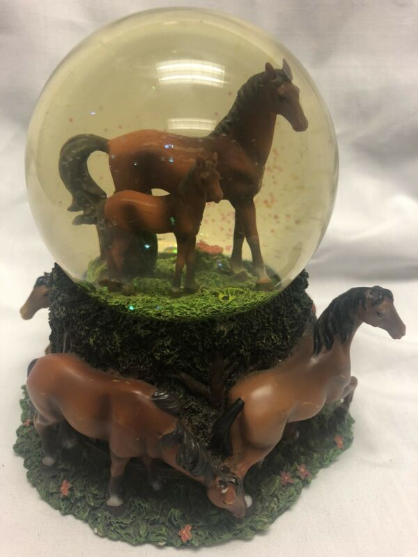 Very Rare Musical Snow Ball With Horses