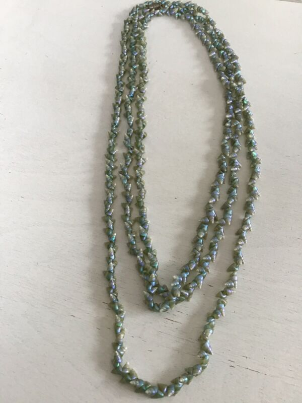 "Antique Tasmanian Maireener Shells Necklace Blue 64"" Wow"