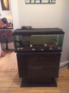 75 gal Fish Tank, New Filter system, Stand, & 20 gal spare tank