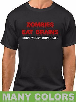 Zombies Eat Brains T Shirt Funny Humor Tee Rude Halloween Party Gift Idea Blood