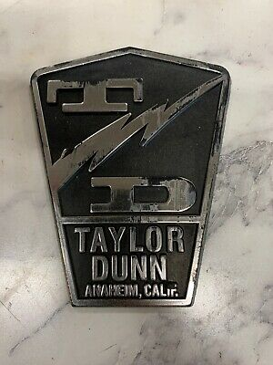 Taylor Dunn Electric 24v Cart 3 Wheel Personnel Burden Carrier Name Badge.