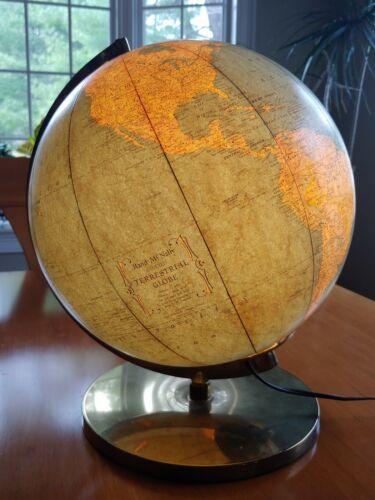 "Vintage 1950s Lighted Glass Rand McNally Terrestrial Art Globe 12"""