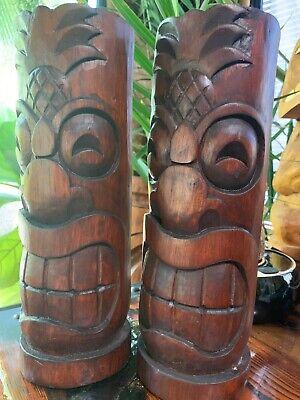 New DAMAGED SECONDS Pineapple Head Tiki Torch set of 2 Smokin' Tikis Hawaii