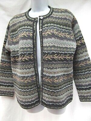 vtg Talbots cardigan sweater S wool embroid floral stripe nordic ski mauve MINT Nordic Wool Sweaters
