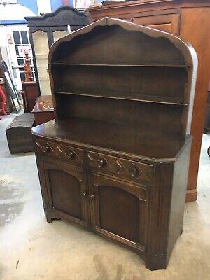 Vintage Welsh English Oak Hutch Buffet Sideboard Shelf Chest Cupboard