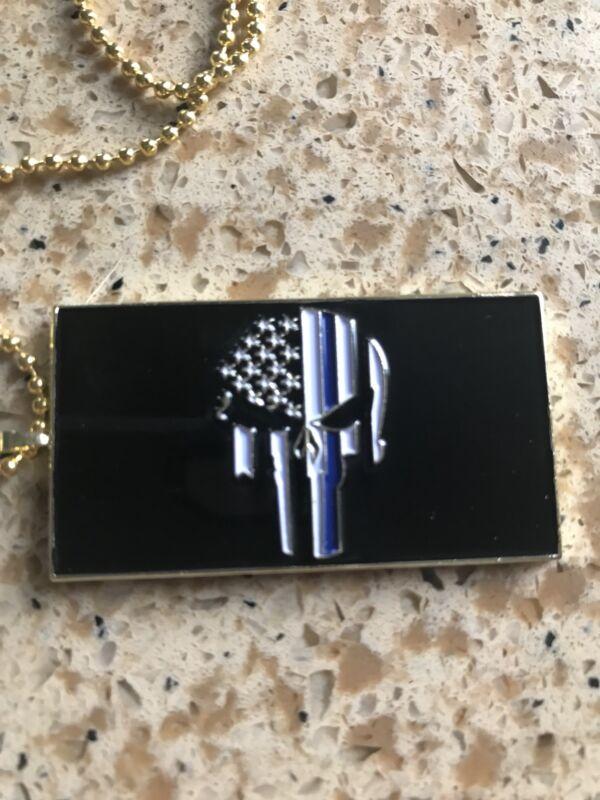 Thin Blue Line Punisher Keychain  Pendant Skull Police Tribute US SELLER!
