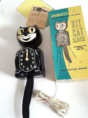 Felix KIT CAT KLOCK Black 1950s Working Moving Eyes Electric VINTAGE & Box