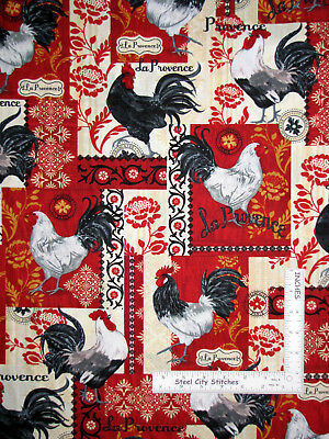 Roosters La Provence French Homeland Cotton Fabric Timeless Treasures C5994 Yard