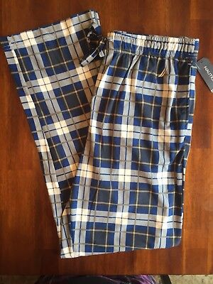 NAUTICA Pajama Pants $40 LOUNG BOTTOMS PJ's THIN FLEECE Blue Grey PLAID Men's