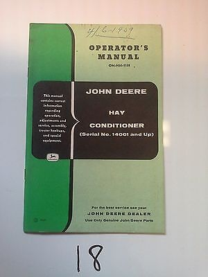 John Deere Operators Manual Hay Conditioner Serial No. 14001 & Up (OM-H60-1158)