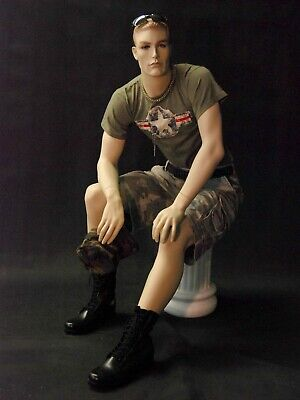 Realistic Face Adult Male Seated Fiberglass Mannequin With Molded Hair Stool