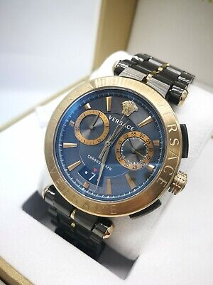 Versace Aion VE1D00619 Luxury Swiss Men's Watch Bronze Chronograph 1Y Warranty