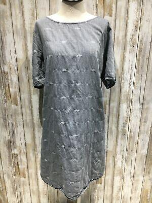 Eileen Fisher women dress size L Large blue a line short sleeve jean look  b93