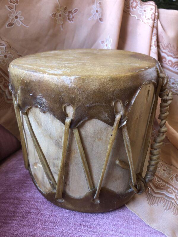 Vintage Navajo Indian Pueblo Drum Wood & Elk-skin Handmade