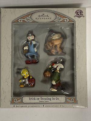Set of 4 Wizard of Oz Christmas Ornaments Halloween Looney Tunes Hallmark New