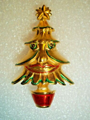 Vintage Gold Tone and Enamel Smiling Face Christmas Tree Brooch