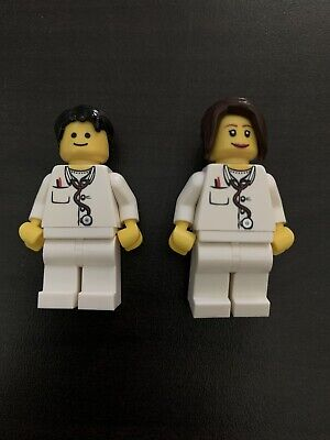 Vintage RETRO Lego Minifig ER Doctor Male & Female Set Hospital minifigure NEW