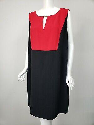 CALVIN KLEIN Dress Red Black Colorblocked Crepe Keyhole Neck sz 20W