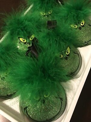 Grinch Ornaments Lot Of 6 Christmas Holidays Tree Decor Gift Green Set Wholesale