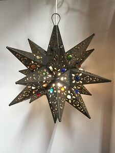 Moravian star pendant light ebay moravian star pierced metal glass pendant light lamp hanging wmarbels 12 inches aloadofball Images